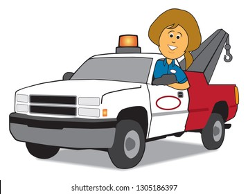 A cartoon service woman is arriving in her tow truck