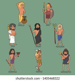 cartoon set of ancient male Greek gods, vector portraits of Apollo, Ares, Zeus, Hades, Poseidon, Dionysus, Hermes, Hephaestus