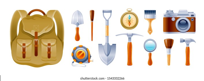 Cartoon set. Archeology, geology, climb, expedition icons. Realistic vintage equipment, instrument, tool: backpack, photo camera, brush, pickaxe, shovel, compass. Vector illustration isolated on white