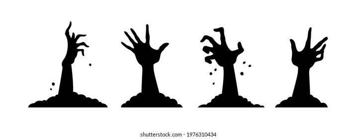 Cartoon set of black halloween holiday silhouette elements of hands isolated on white background. Hands sticking out of grave. Concept of happy halloween. Flat cartoon vector illustration