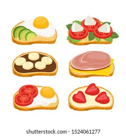 Cartoon set of bruschetta with ham, cheese and avocado, tomato isolated on white background. Color vector illustration of delicious italian breakfast sandwiches for poster label and menu bakery shop.