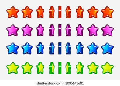 Cartoon set of colored stars, vector animation game turn-based Rotation