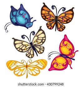 Cartoon set of colorful butterflies. Vector illustration.