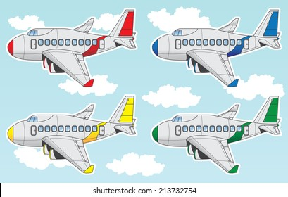 Cartoon set containing airliner planes in different colors