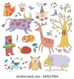 Cartoon Set Of Cute Animals And Plants