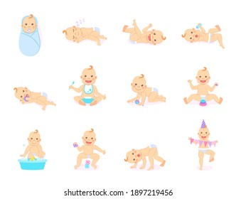 Cartoon set with cute little babies in diaper. Happy toddler plays with toy, birthday of baby, child learning to walk, baby smiling, child sits on potty, toddler crawling on the floor. Little kid