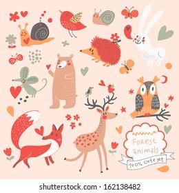 Cartoon set of cute wild animals in the forest: bear, fox, hedgehog, rabbit, snail, deer, owl, bird, mouse. Vintage childish set in vector.
