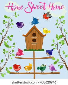 Cartoon set of different colorful birds near birdhouse isolated on blue background in flat style. Vector. Detailed illustration birds in flat style on blue background near birdhouse on the tree.