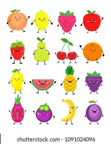 Cartoon set of different fruits. Smiling peach, lemon, mango, watermelon, cherry, apple, pineapple, raspberry, strawberry, orange, dragon fruit, mangosteen, banana, plum. Vector illustration isolated