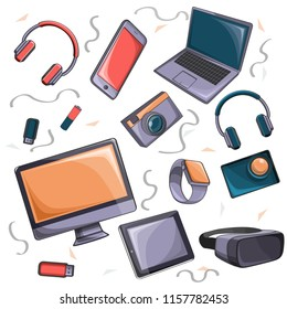 a cartoon set of doodles on a gadget theme. Colour, detailed. All objects are separate. Vector illustration.