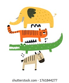 cartoon set with elephant, tiger, zebra, crocodile, decoration elements. colorful vector flat style illustration for kids. baby design for greetings cards, prints, posters, cover