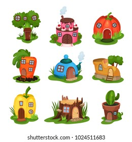 Cartoon set of fairy-tale houses in various shapes. Home in form of broccoli, cake, pumpkin, carrot, teapot, shoe, pepper, old stump and cactus in pot. Flat vector design