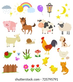cartoon set of farm animals isolated on white. vector illustration
