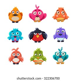 Cartoon set of funny colourful cute little birds vector illustration collection
