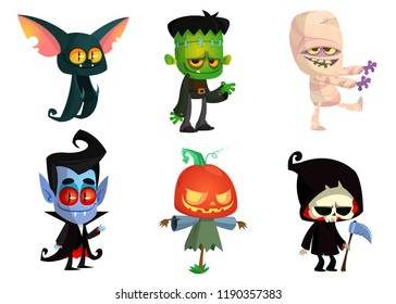 Cartoon  set of Halloween characters. Vector mummy, zombie, vampire,  bat, death grim reaper, pumpkin head. Great for party decoration or sticker