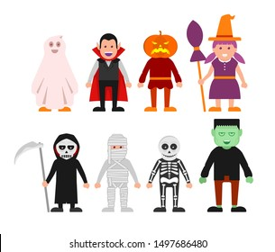 Cartoon set of Halloween characters,Vector mummy, zombie, vampire, death grim reaper, pumpkin head, witch. Great for party decoration or sticker