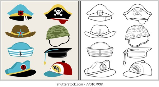 cartoon set of hat or caps, coloring book or page