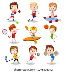 Cartoon set of kids doing active sport pastime. Collection of interesting time leisure vector illustration. Sport childhood and activity concept. Isolated on white