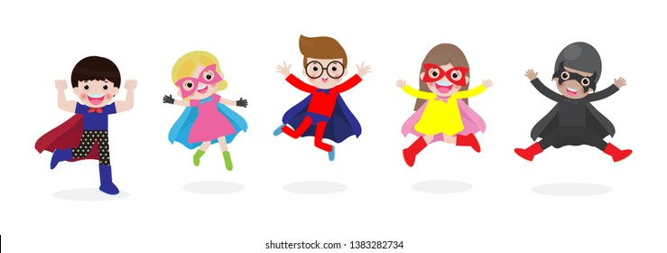 86d4787e2 Cartoon set of Kids Super heroes wearing comics costumes. children in  Superhero costume characters isolated