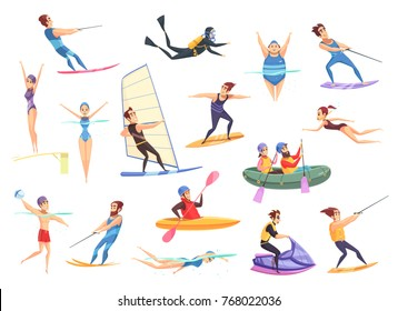 Cartoon set of male and female people doing various kinds of water sports isolated on white background vector illustration