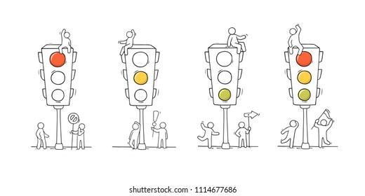 Cartoon set - men with traffic light. Doodle scene about road safety. Hand drawn vector illustration for warning design.