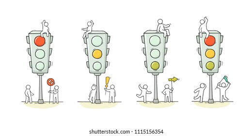 Cartoon set - men with traffic light. Doodle scene about road safety. Hand drawn vector illustration for warning design.