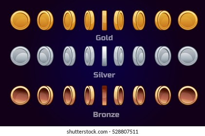 Cartoon set of metal coins, vector animation game turn-based Rotation. Gold, silver and bronze