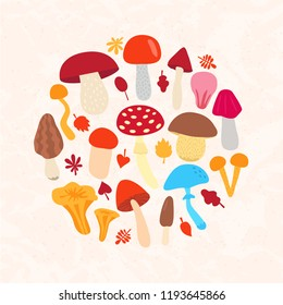 Cartoon set of mushroom. Vector iluustration. Different mushroms template isolated.