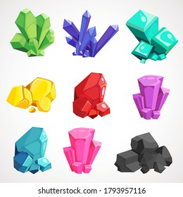 Cartoon set of natural gems. Minerals from the mine. Vector illustration