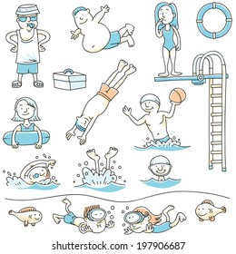 Cartoon set of people swimming for recreation.