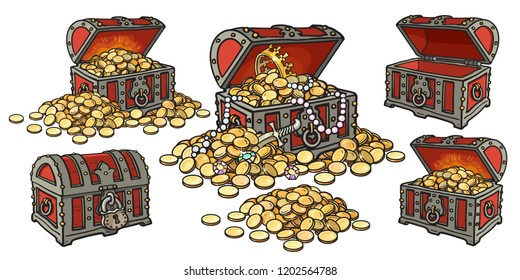 Cartoon set of pirate treasure chests open and closed, empty and full of gold coins and jewelry. Pile of golden money.  Hand drawn vector illustration isolated on white background.