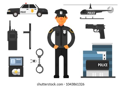 Cartoon set of police attributes. Officer, gun, baton, automobile, badge, helicopter, handcuffs, keys, portable radio and building. Flat vector elements for infographic