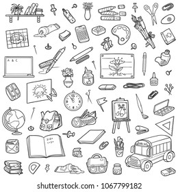 Cartoon set of school objects. Vector black and white collection of stationery and items for study