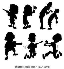 Cartoon set of silhouette soldiers isolated on white