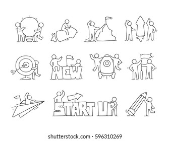 Cartoon set of sketch little people with creative symbols. Doodle cute icons about start up. Hand drawn vector illustration for business design.