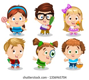 Cartoon set of smiling boys and girls, who looking through magnifier, holding candy, cactus, flowers, present box, basket. Concept of different kinds of activity, pastime, hobby of children.