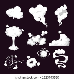 Cartoon set of smoke, steam, clouds. Smoke cloud, steam explosion, speed in motion. Collection steam cloud patterns for special effects in motion. Vector steam clouds, gas blast.