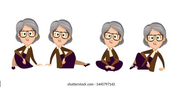 Cartoon set with spectacled elderly woman sitting on floor in different poses. Senior lady having rest or waiting of something. Vector illustration isolated on white background.