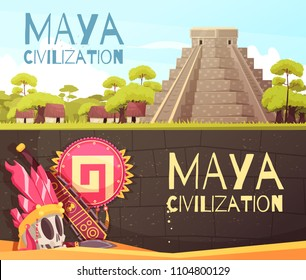 Cartoon set of two horizontal banners with maya civilization pyramid and accessories isolated vector illustration