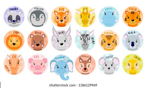 Cartoon set Vector Animals face. Panda,fox,zebra,elephant,lion,pig,bear chick koala tigerhareleopardhorsemousesquirrel giraffe hippopotamus Nursery illustration