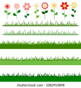 Cartoon set of vector summer elements. Seamless borders of grass and flowers isolated on white background