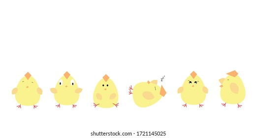 Cartoon set of yellow chickens character with difference poses. Vector illustration isolated on white background.