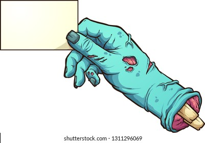 Cartoon severed zombie hand holding a blank card. Vector clip art illustration with simple gradients. All in a single layer.