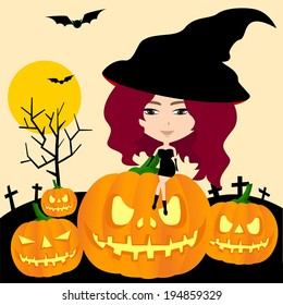Cartoon sexy female Witch of Halloween sitting on in pumpkin jack-o-lantern in graveyard background night scene, create by vector