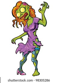 Cartoon sexy female zombie. Isolated on white