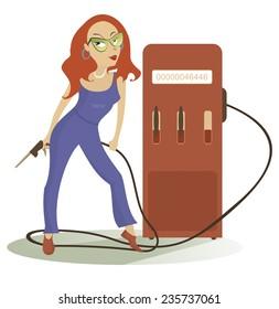 Cartoon sexy girl at the petrol station