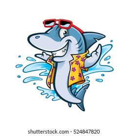 cartoon shark with beachwear and sunglasses smiling welcome