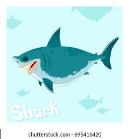 Cartoon shark character in the sea. Vector illustration.