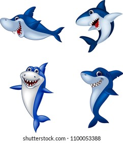 Cartoon shark collection set