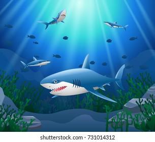 Cartoon shark with Coral Reef Underwater in Ocean. Vector illustration